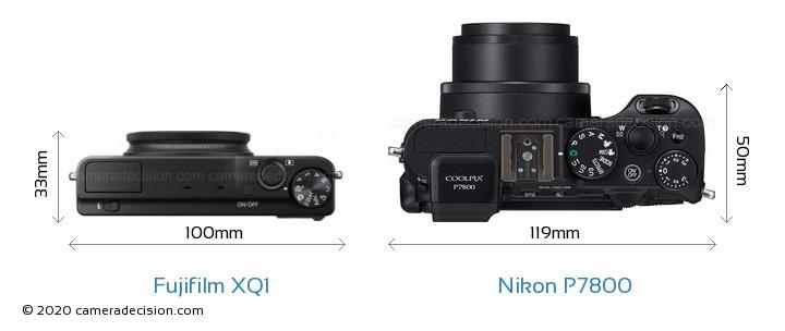 Fujifilm XQ1 vs Nikon P7800 Camera Size Comparison - Top View