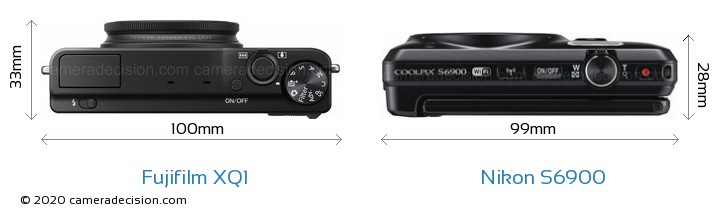 Fujifilm XQ1 vs Nikon S6900 Camera Size Comparison - Top View