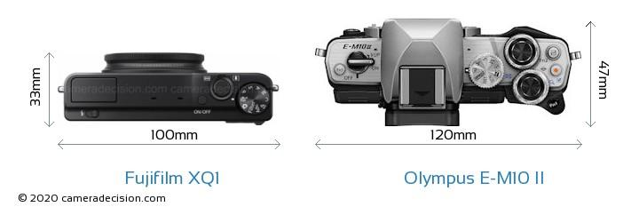Fujifilm XQ1 vs Olympus E-M10 II Camera Size Comparison - Top View