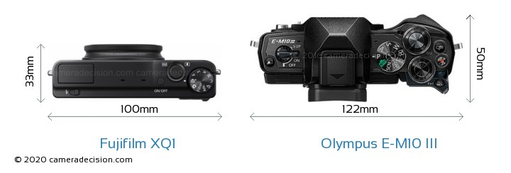 Fujifilm XQ1 vs Olympus E-M10 MIII Camera Size Comparison - Top View