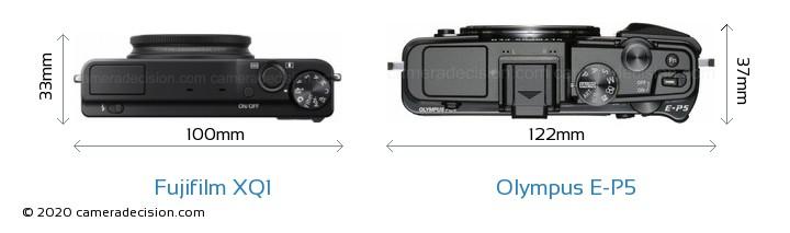 Fujifilm XQ1 vs Olympus E-P5 Camera Size Comparison - Top View
