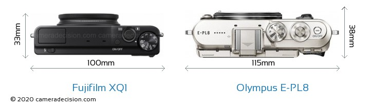 Fujifilm XQ1 vs Olympus E-PL8 Camera Size Comparison - Top View