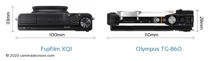 Fujifilm XQ1 vs Olympus TG-860 Camera Size Comparison - Top View