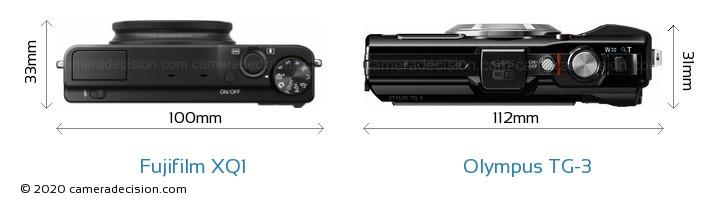Fujifilm XQ1 vs Olympus TG-3 Camera Size Comparison - Top View
