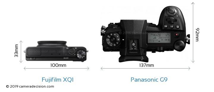 Fujifilm XQ1 vs Panasonic G9 Camera Size Comparison - Top View