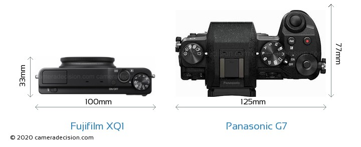 Fujifilm XQ1 vs Panasonic G7 Camera Size Comparison - Top View