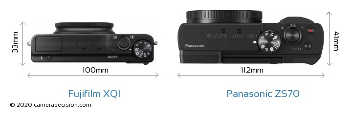Fujifilm XQ1 vs Panasonic ZS70 Camera Size Comparison - Top View