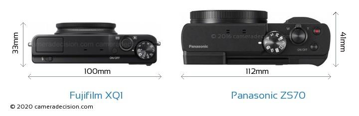 Fujifilm XQ1 vs Panasonic ZS70 Camera Size Comparison - Top View