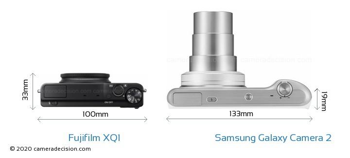 Fujifilm XQ1 vs Samsung Galaxy Camera 2 Camera Size Comparison - Top View
