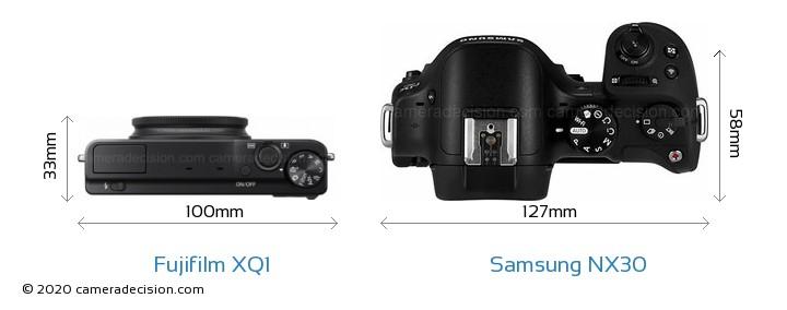 Fujifilm XQ1 vs Samsung NX30 Camera Size Comparison - Top View