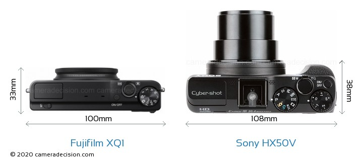 Fujifilm XQ1 vs Sony HX50V Camera Size Comparison - Top View