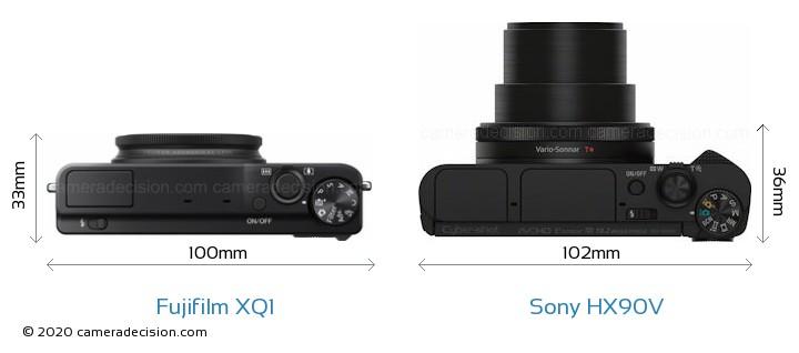 Fujifilm XQ1 vs Sony HX90V Camera Size Comparison - Top View