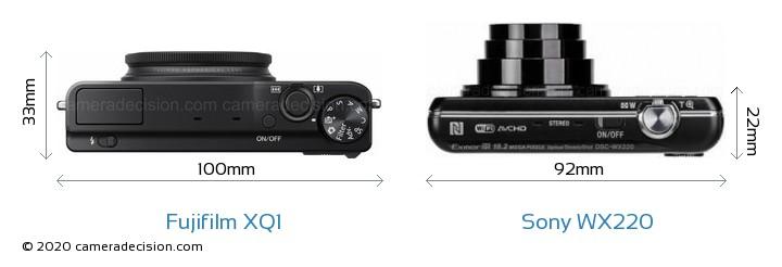 Fujifilm XQ1 vs Sony WX220 Camera Size Comparison - Top View