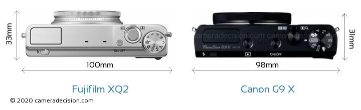 Fujifilm XQ2 vs Canon G9 X Camera Size Comparison - Top View