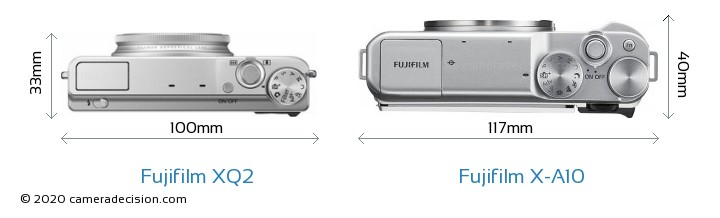 Fujifilm XQ2 vs Fujifilm X-A10 Camera Size Comparison - Top View