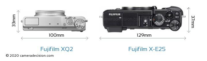 Fujifilm XQ2 vs Fujifilm X-E2S Camera Size Comparison - Top View