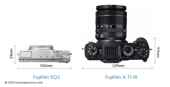 Fujifilm XQ2 vs Fujifilm X-T1 IR Camera Size Comparison - Top View