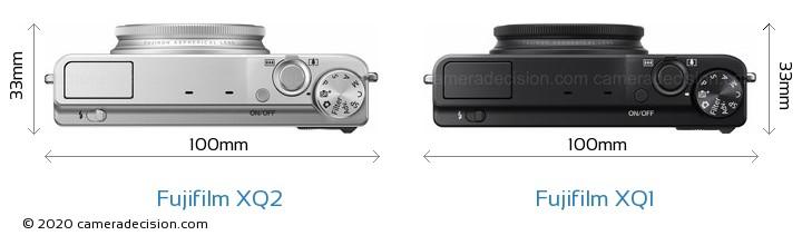 Fujifilm XQ2 vs Fujifilm XQ1 Camera Size Comparison - Top View