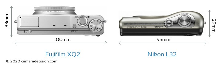 Fujifilm XQ2 vs Nikon L32 Camera Size Comparison - Top View