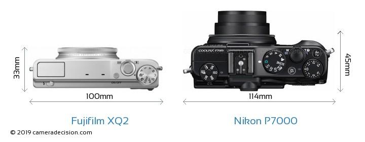Fujifilm XQ2 vs Nikon P7000 Camera Size Comparison - Top View