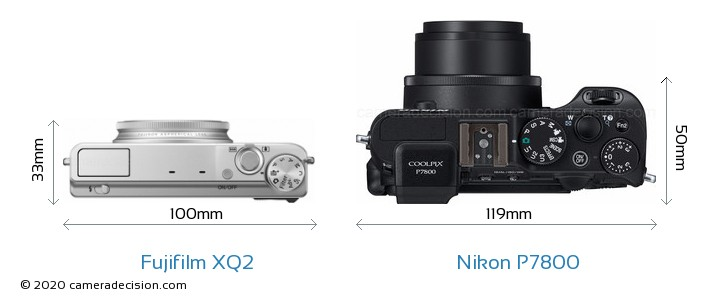 Fujifilm XQ2 vs Nikon P7800 Camera Size Comparison - Top View