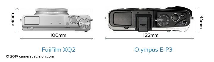 Fujifilm XQ2 vs Olympus E-P3 Camera Size Comparison - Top View