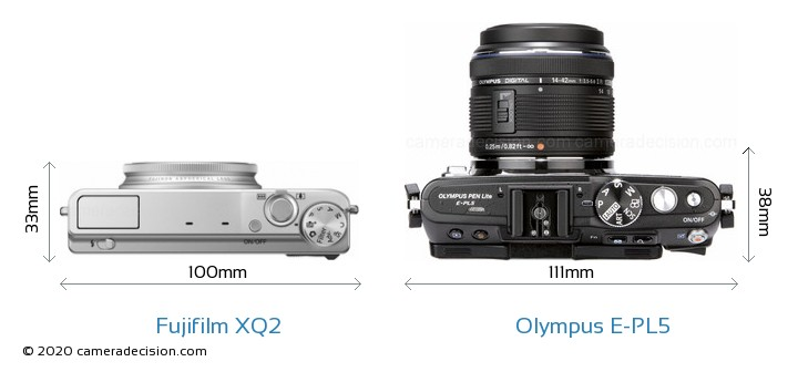 Fujifilm XQ2 vs Olympus E-PL5 Camera Size Comparison - Top View