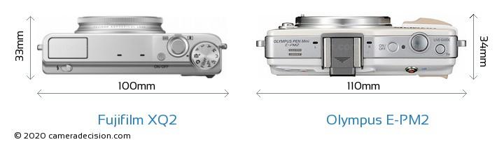 Fujifilm XQ2 vs Olympus E-PM2 Camera Size Comparison - Top View