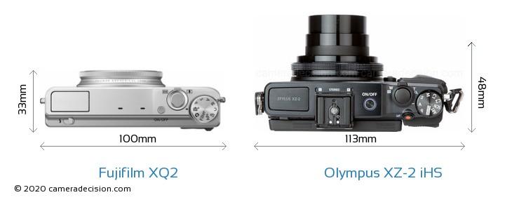 Fujifilm XQ2 vs Olympus XZ-2 iHS Camera Size Comparison - Top View