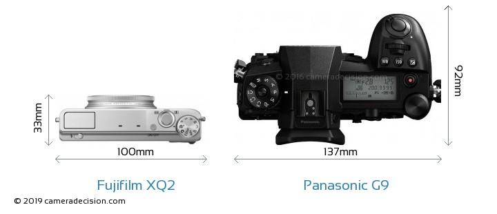 Fujifilm XQ2 vs Panasonic G9 Camera Size Comparison - Top View