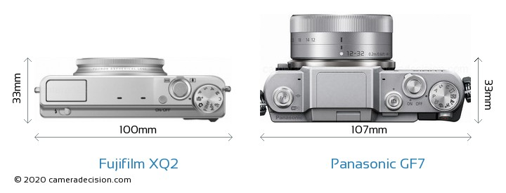 Fujifilm XQ2 vs Panasonic GF7 Camera Size Comparison - Top View
