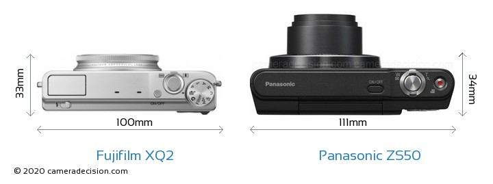 Fujifilm XQ2 vs Panasonic ZS50 Camera Size Comparison - Top View