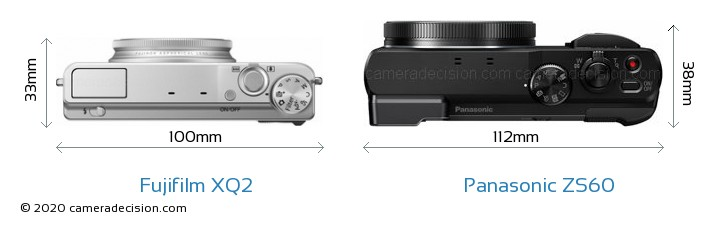 Fujifilm XQ2 vs Panasonic ZS60 Camera Size Comparison - Top View