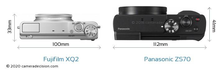 Fujifilm XQ2 vs Panasonic ZS70 Camera Size Comparison - Top View