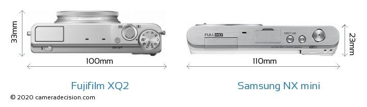 Fujifilm XQ2 vs Samsung NX mini Camera Size Comparison - Top View