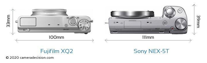 Fujifilm XQ2 vs Sony NEX-5T Camera Size Comparison - Top View