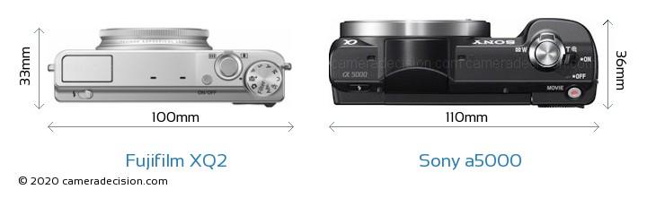 Fujifilm XQ2 vs Sony a5000 Camera Size Comparison - Top View