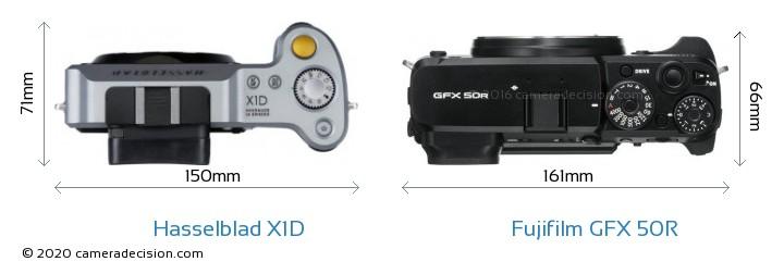 Hasselblad X1D vs Fujifilm GFX 50R Camera Size Comparison - Top View