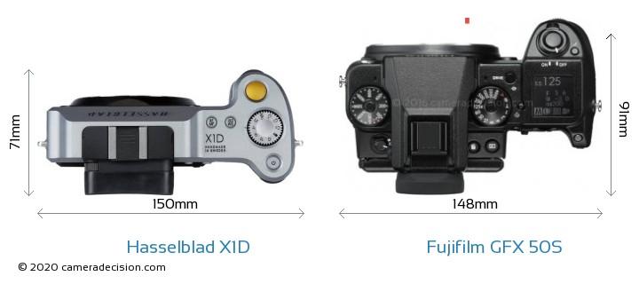 Hasselblad X1D vs Fujifilm GFX 50S Camera Size Comparison - Top View