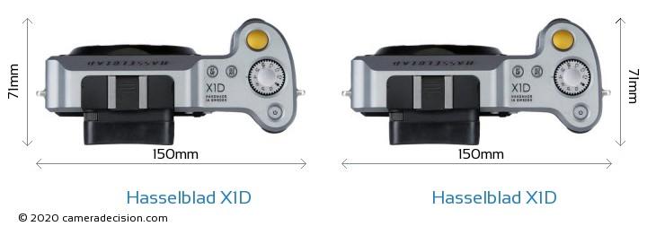 Hasselblad X1D vs Hasselblad X1D Camera Size Comparison - Top View