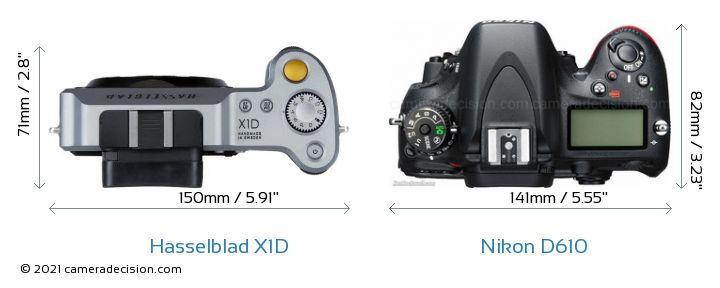Hasselblad X1D vs Nikon D610 Camera Size Comparison - Top View