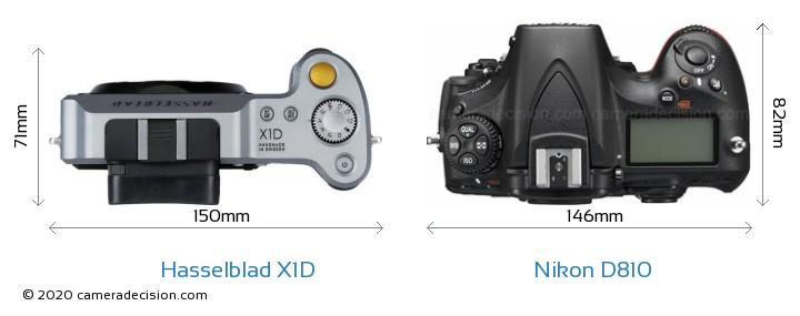 Hasselblad X1D vs Nikon D810 Camera Size Comparison - Top View