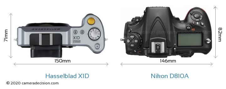 Hasselblad X1D vs Nikon D810A Camera Size Comparison - Top View