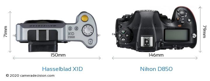 Hasselblad X1D vs Nikon D850 Camera Size Comparison - Top View
