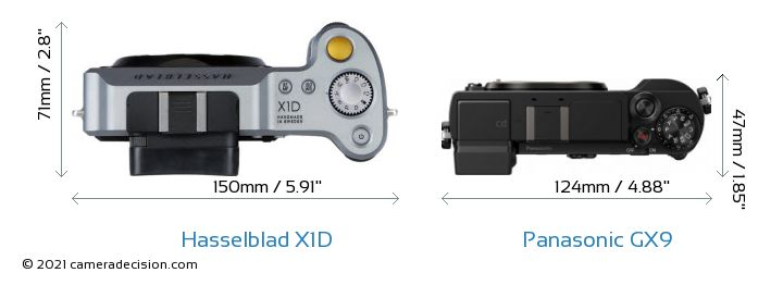 Hasselblad X1D vs Panasonic GX9 Camera Size Comparison - Top View