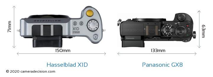 Hasselblad X1D vs Panasonic GX8 Camera Size Comparison - Top View