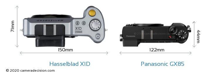 Hasselblad X1D vs Panasonic GX85 Camera Size Comparison - Top View