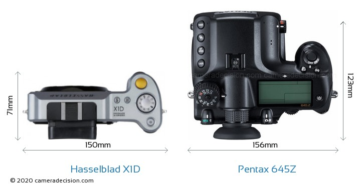 Hasselblad X1D vs Pentax 645Z Camera Size Comparison - Top View
