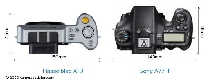 Hasselblad X1D vs Sony A77 II Camera Size Comparison - Top View