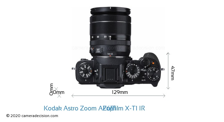 Kodak Astro Zoom AZ651 vs Fujifilm X-T1 IR Camera Size Comparison - Top View